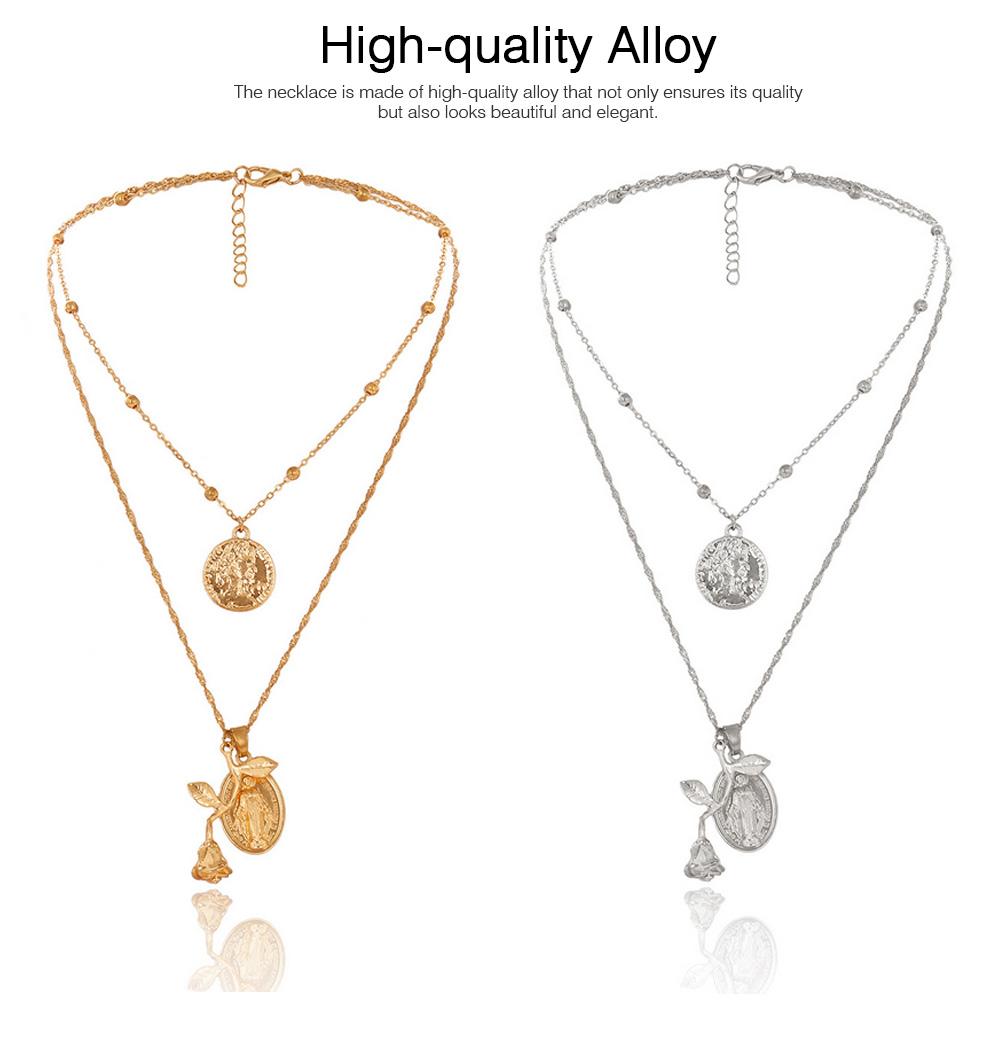 Women Alloy Pendant Necklace, Multi-layer Retro Rose & Jesus Pendant Accessory Necklace Beauty Accessory Gold Silver 2 Colors 1