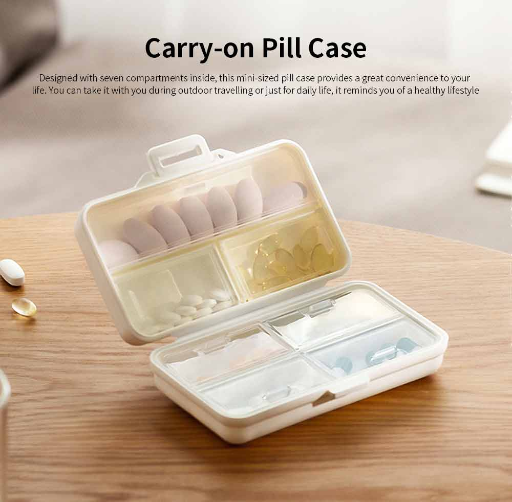 Mini-sized Medicine Container for Outdoor Travelling, Concise Potable White Little Carry-on Pill Case One Week Dose Dispenser 0