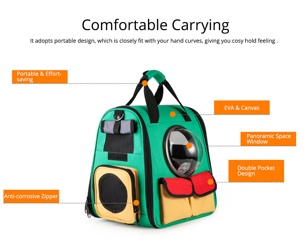 Pet Portable Handbag Canvas Space Cat Backpack Stylish Handy with Zipper Opening for Outdoor Use 1