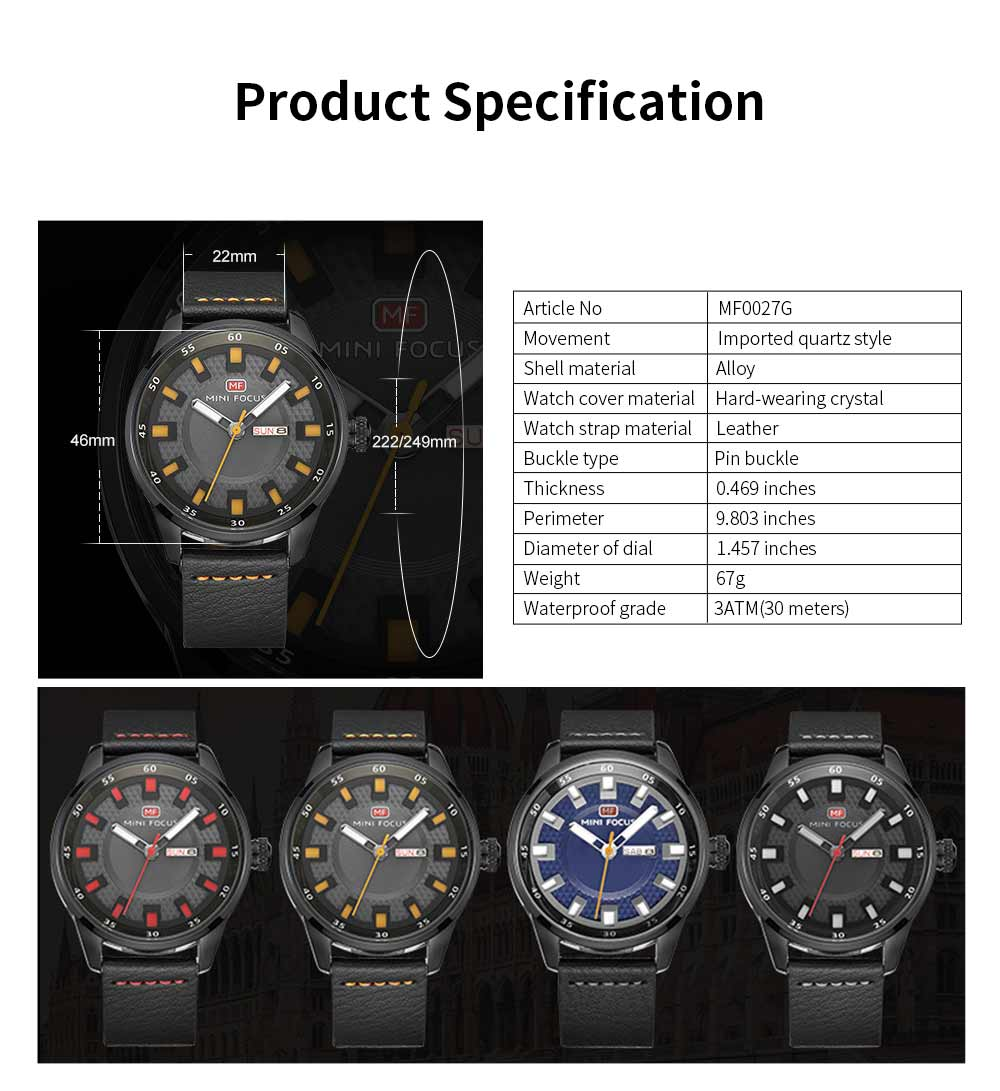 Wrist Watch for Men, Hard-wearing Waterproof Luminous Quartz Watch with Japanese Movement Breathable Genuine Leather Strap 9