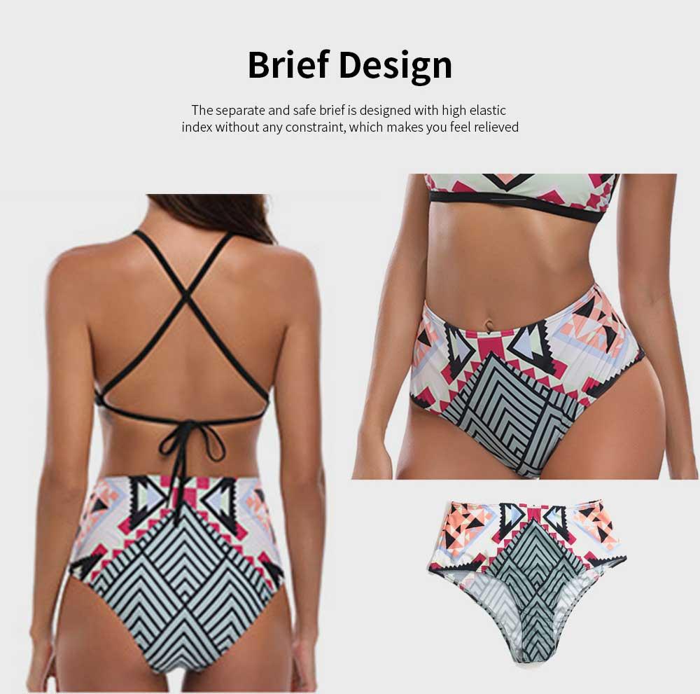 2019 Latest European Style Sexy Bikini, Terylene High Waist Two-piece Fresh and Sexy Bathing Suit Swimwear 5