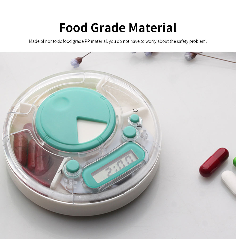 Portable Electric Pill Case for One Week, Mini-sized PP Material Medicine Storage Reminder 5