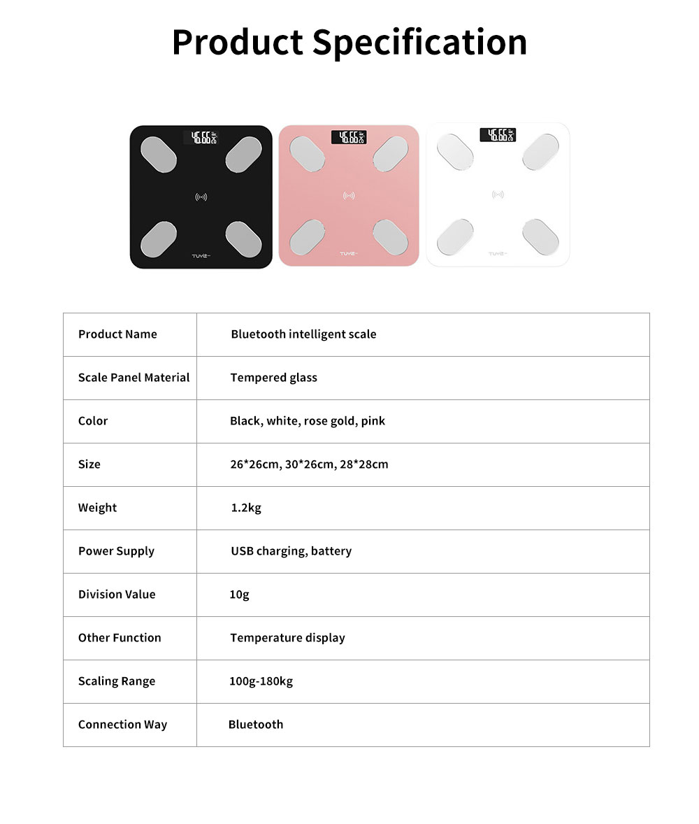 Digital Weight and Body Fat Bluetooth Scales, Bluetooth Intelligent Scale for Body Weight 6
