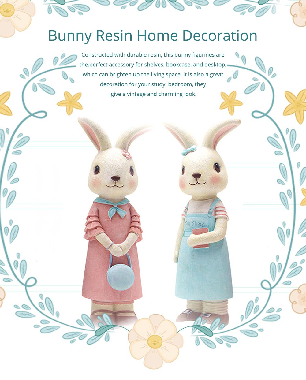 Rabbit Home Decoration Bunny Resin Figurines, Bunny Bosom Friend Hare Decorations for Home and Garden Ornaments 0