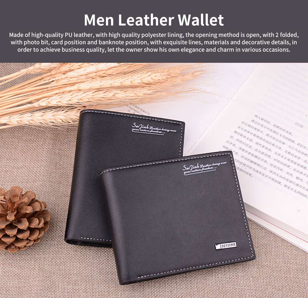Simple Style Men Youth Wallet Leather Blocking Casual Money Clip with Gift Box Multi-function Credit Card Ticket Holder 0