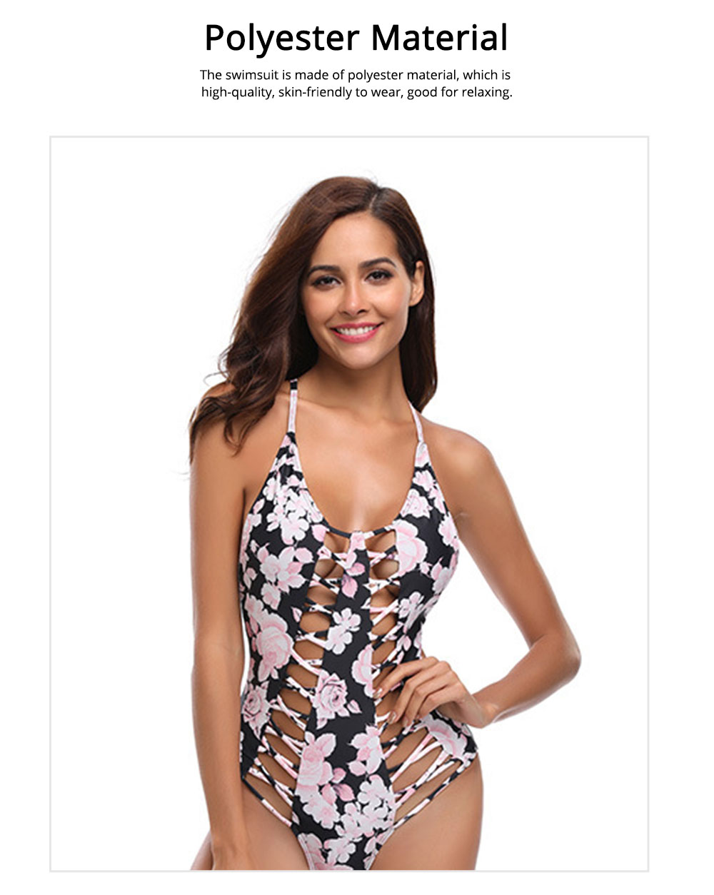 Polyester Material Swimsuit with Floral Printing Bikini for Women Bathing Suit Romper Style Summer Swimwear 2