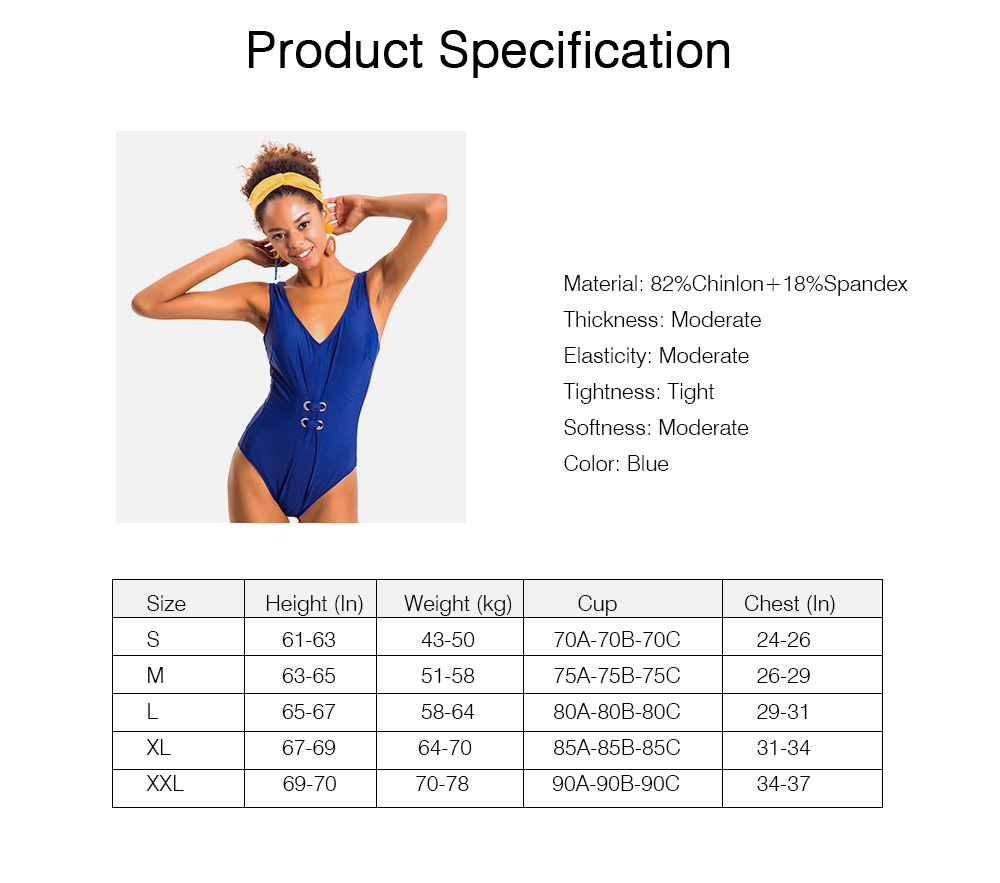 Pure Color Sexy One-piece Swim Suit for Women, Fashionable Blue Bikini Swimming Hot Spring Suit for Women Lady 7