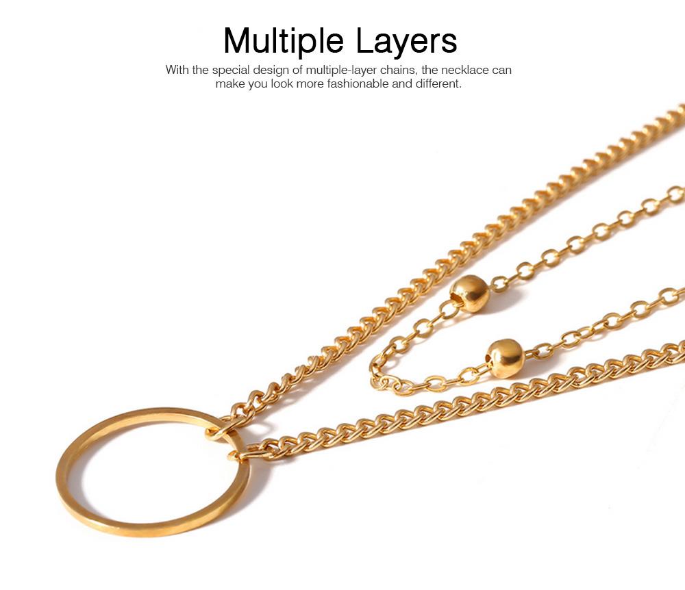 Geometric Copper Pendant Necklace, Multi-layer Simple Elegant Necklace Golden Alloy Neck Accessory 3