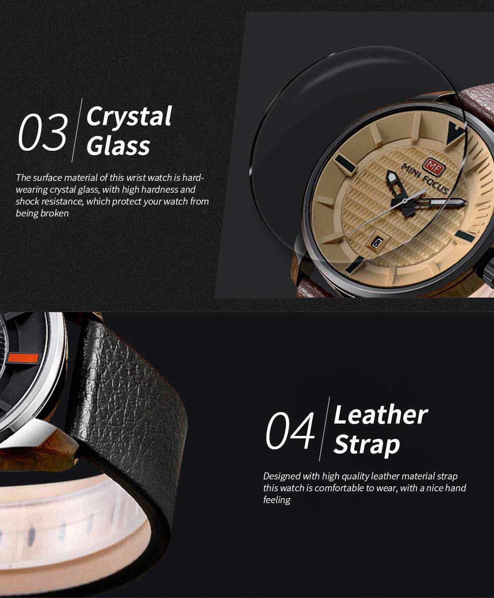 MINI FOCUS Men's Watch with Japanese Movement, High Quality Quartz Watch with Leather Strap Waterproof 30M 2