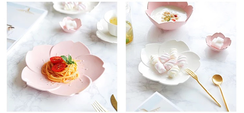 Japanese Style Pink Petal Tableware Western Food Plate Sauce Dish Baking Dishes 8