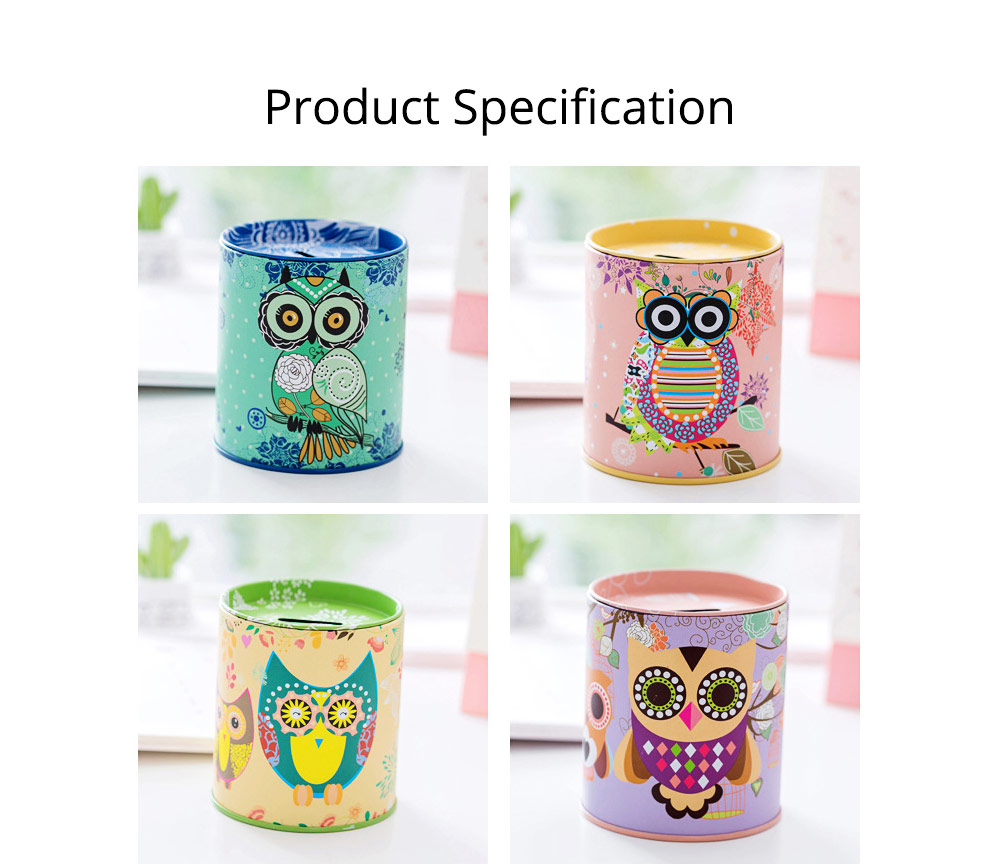 Cartoon Innovative Tinplate Piggy Bank Owl Pattern Pen Holder Stationery Storage Box 7