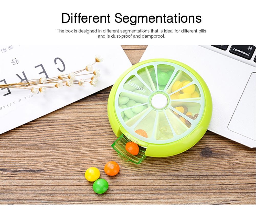 Rotate Button Mini Pill Box Plastic 7 Segmentation Pill Organizer Box for Pills & Tablets 6