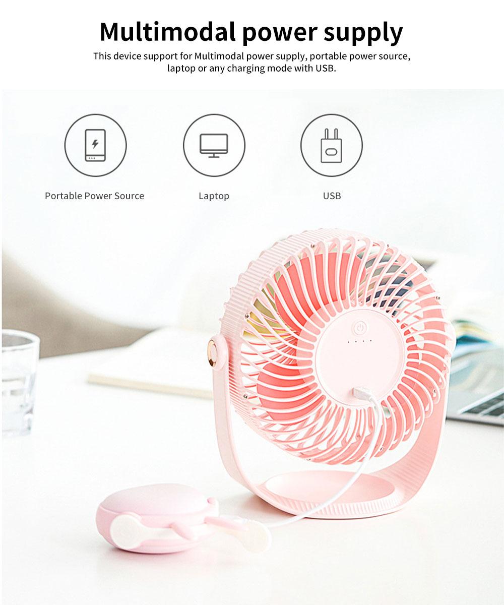 Latest F12 High-capacity of 2000mAh Mini-sized Electric Fan, 360 Degrees Rotational USB Air Fan Portable 6