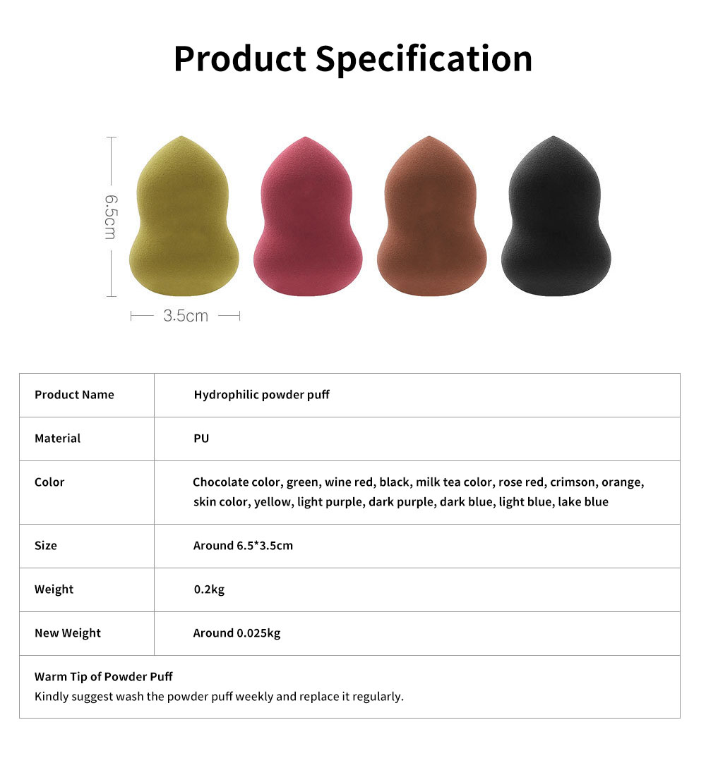 Hydrophilic Gourd-shape Powder Puff for Face Powder Non-latex Sponge Powder Puffs Wet & Dry Dual Use Powder Puff Makeup Tools 6