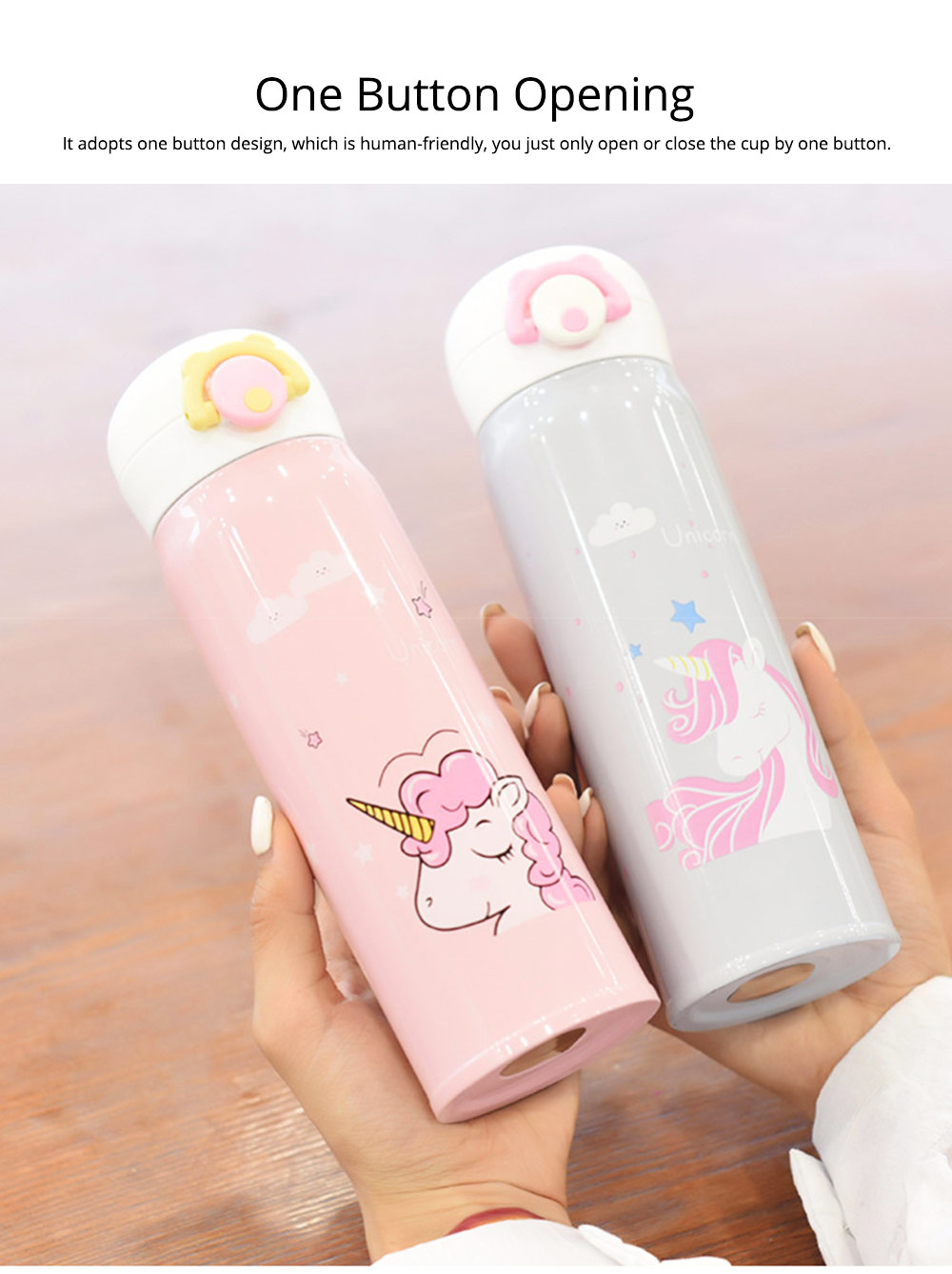 Cartoon Portable Stainless Steel Vacuum Cup Bottle Children Cup with Unicorn Pattern 4