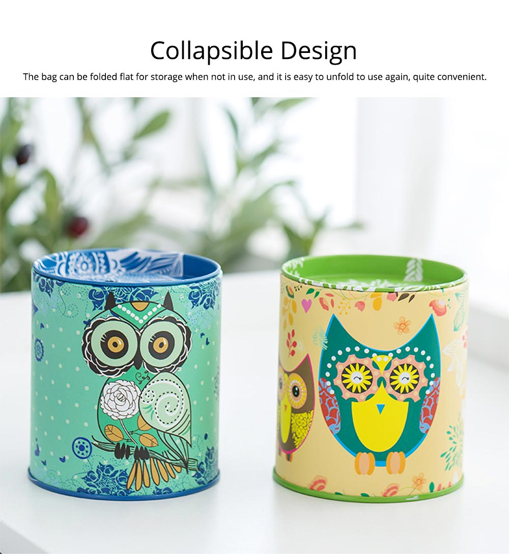 Cartoon Innovative Tinplate Piggy Bank Owl Pattern Pen Holder Stationery Storage Box 3