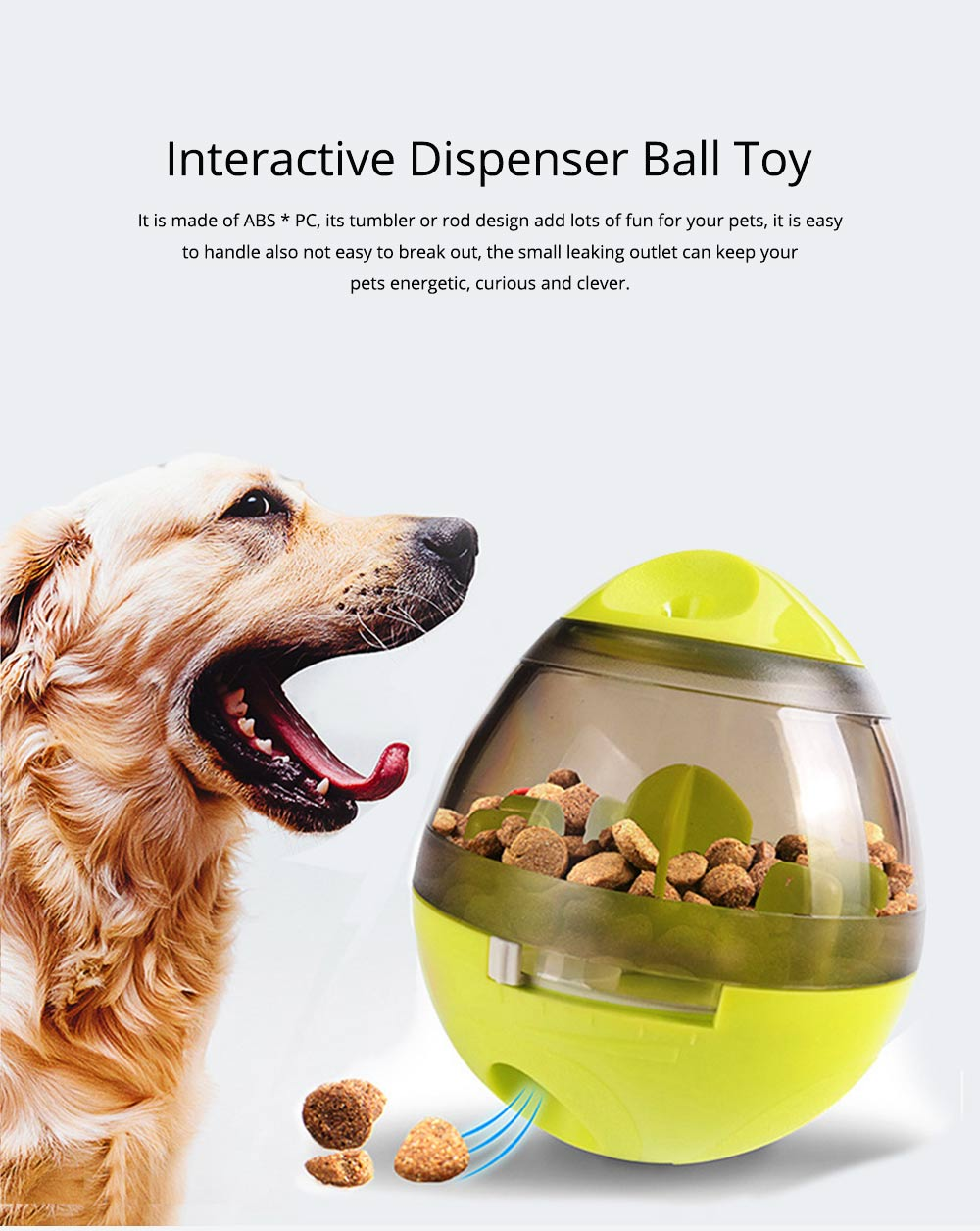 Dog Treat Dispenser Ball Toy Interactive Treat-dispensing Ball for Dogs and Cats Tumbler Design 0