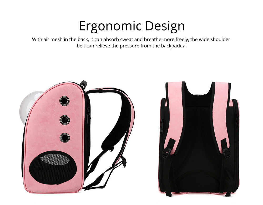 Pet Carrier Backpack 2-Sided Entry PU Leather Space Capsule Waterproof Breathable for Cat Small Dog 7