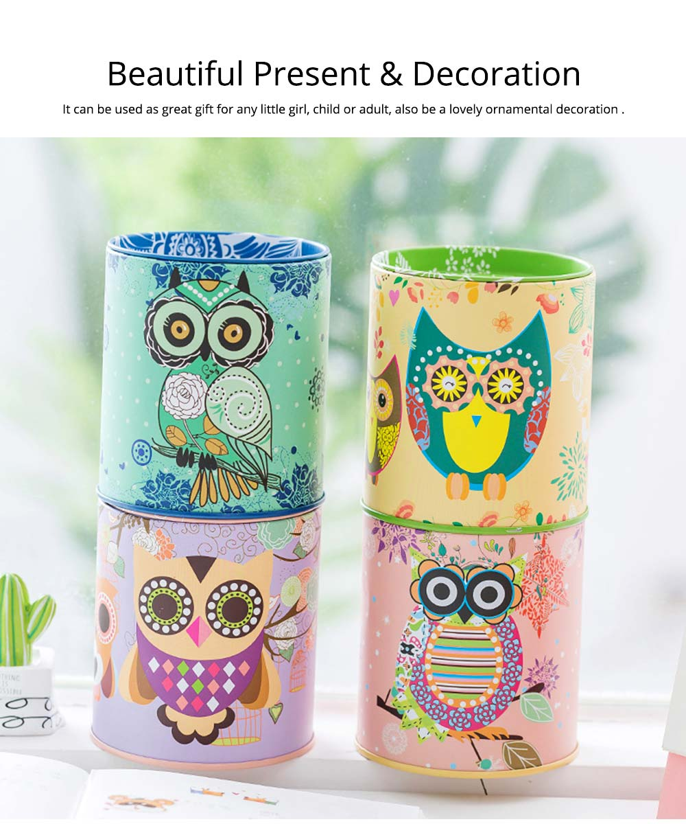 Cartoon Innovative Tinplate Piggy Bank Owl Pattern Pen Holder Stationery Storage Box 4