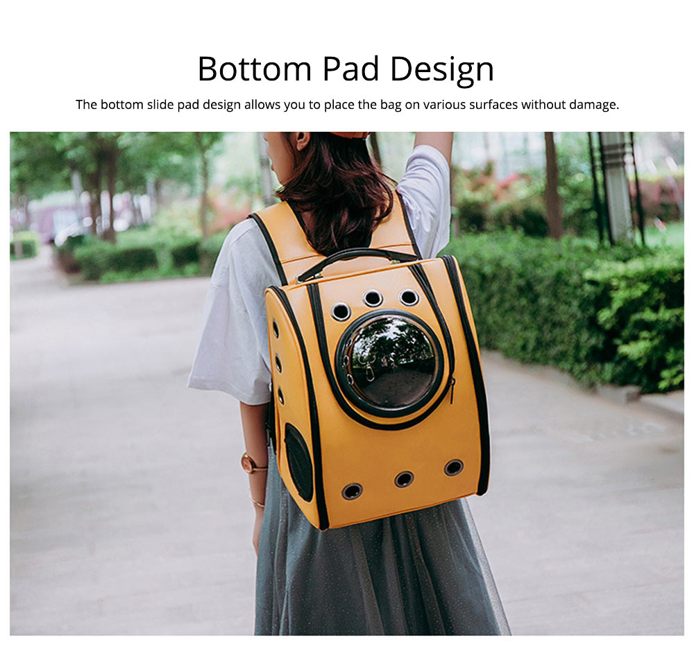 Pet Carrier Backpack 2-Sided Entry PU Leather Space Capsule Waterproof Breathable for Cat Small Dog 5