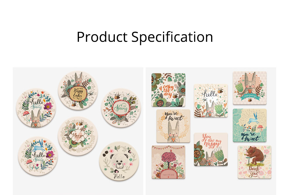 European Style Diatomite Water Obsorption Cup Mat Heat Insulation Eco-friendly Coasters 6