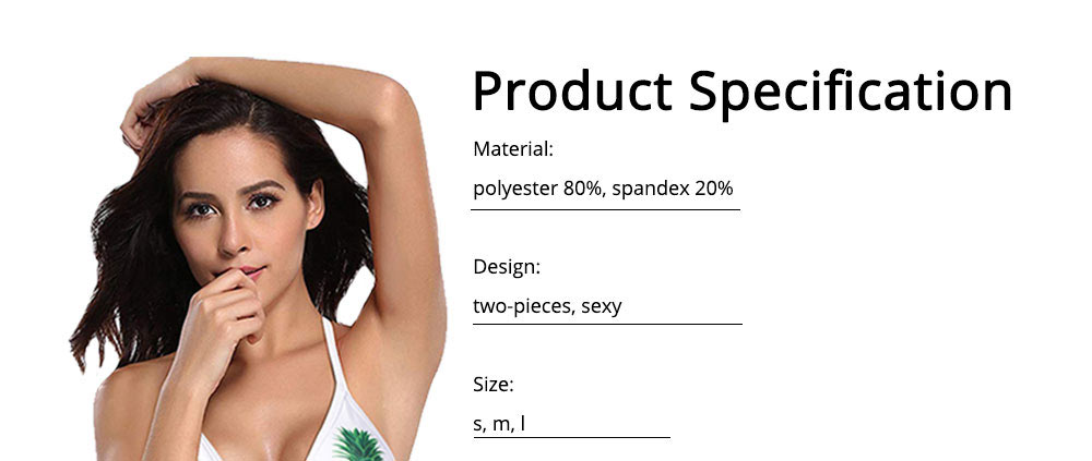 Polyester Swimwear Spandex Material Pineapple Printing Bikini for Women Sexy Bathing Suit Two-pieces Swimsuit for Summer 6
