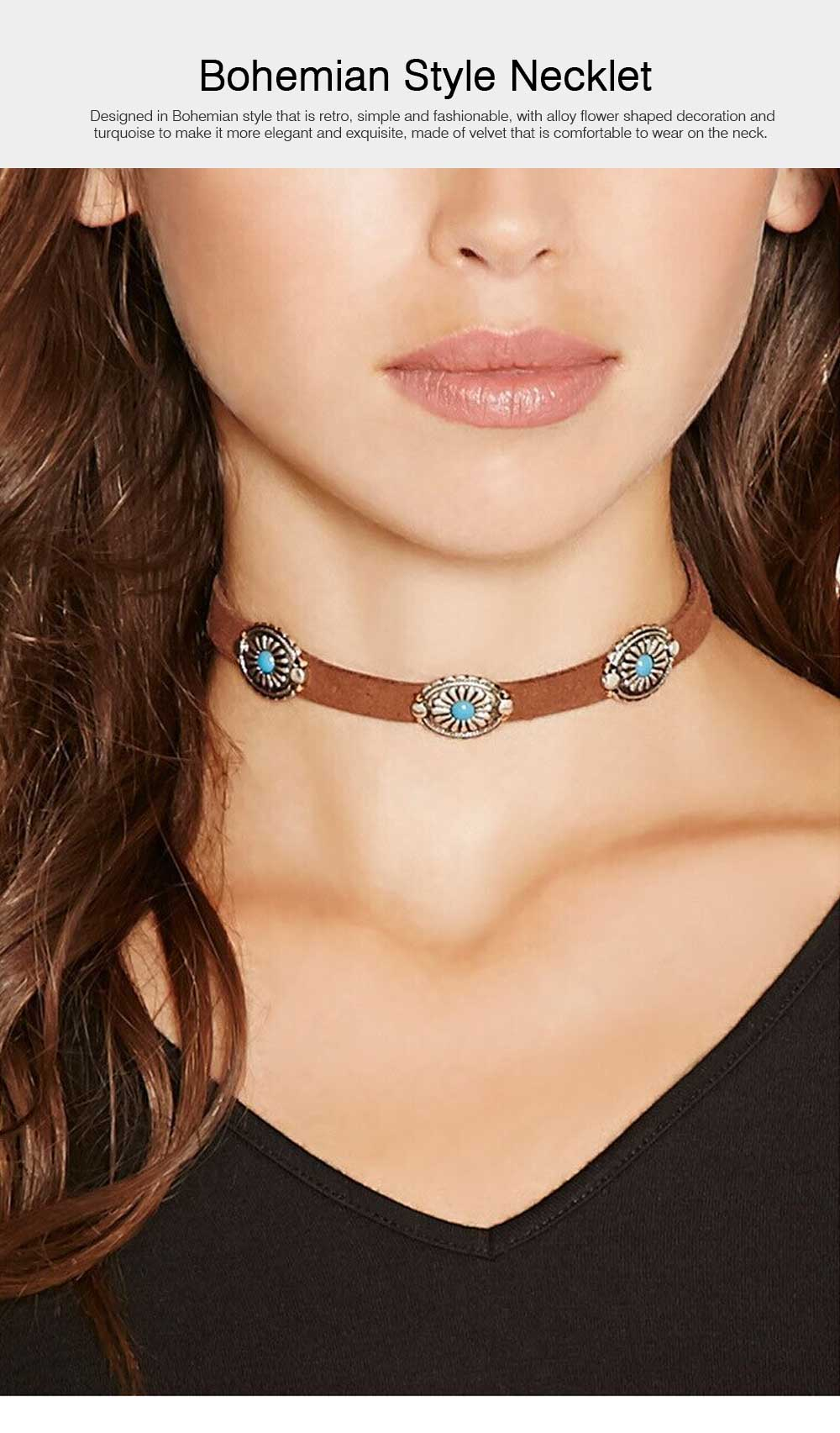 Bohemian Style Necklace with Turquoise and Alloy Decoration, Retro Simple Style Necklet Neck Accessory Ornament 0