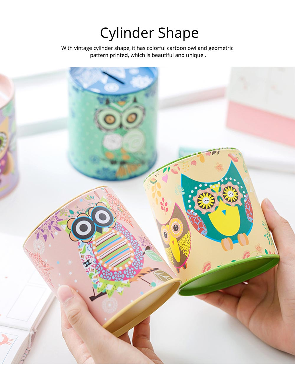 Cartoon Innovative Tinplate Piggy Bank Owl Pattern Pen Holder Stationery Storage Box 1