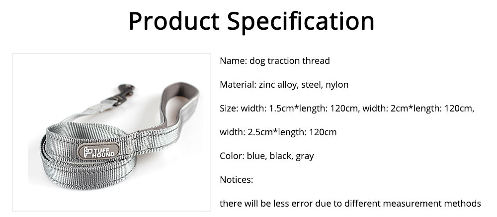 Dog Traction Thread Zinc Alloy Steel Nylon Material String Dog Leash Reflective Sewing Strong Dog Chain 6