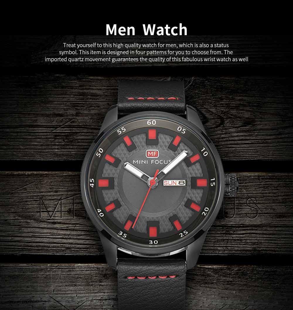 Wrist Watch for Men, Hard-wearing Waterproof Luminous Quartz Watch with Japanese Movement Breathable Genuine Leather Strap 0