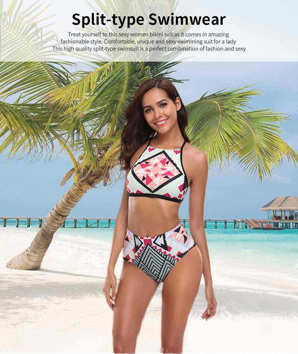2019 Latest European Style Sexy Bikini, Terylene High Waist Two-piece Fresh and Sexy Bathing Suit Swimwear 0