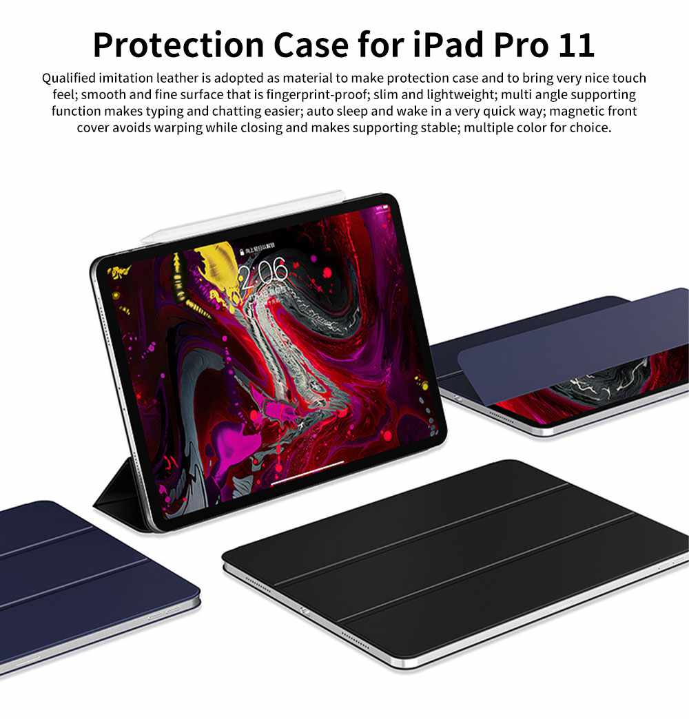 Tablet Protection Case for iPad Pro 11 2018 New iPad 11 Protective Case Tri-fold Intelligent Smart Magnetic Leather Shell Case Lightweight 0