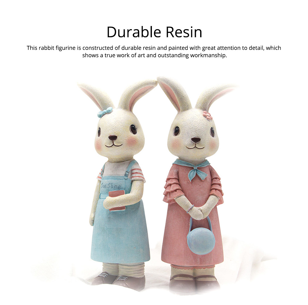 Rabbit Home Decoration Bunny Resin Figurines, Bunny Bosom Friend Hare Decorations for Home and Garden Ornaments 2