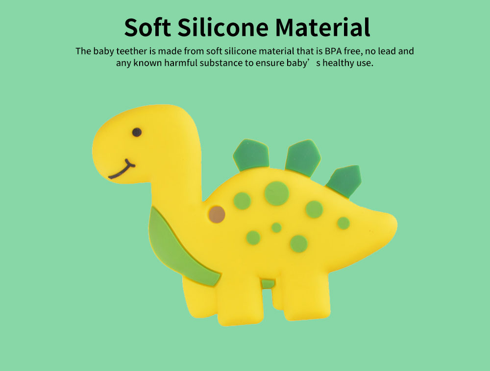 Dinosaur-shape Silicone Baby Teether, BPA Free Safe Baby Teeth Chew Toys for 3 Months to 2 Years Baby Infant Boy Girl Cartoon Baby Teethers 2