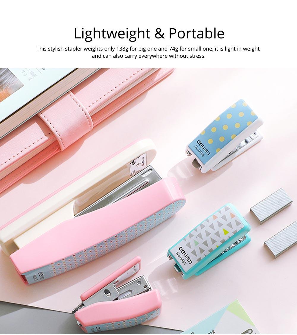 Geometric Mini Student Stapler Colorful Cute Polka Dot Stylish Stationery Stapler 1