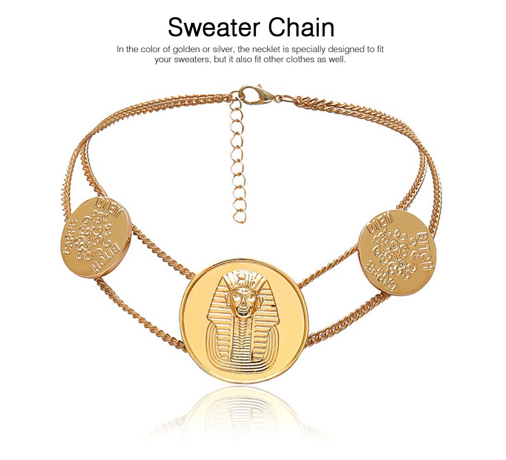 Sweater Chain Necklace with Alloy Egyptian Totem Pattern, Simple Retro Women Necklace for Sweater Accessory 3