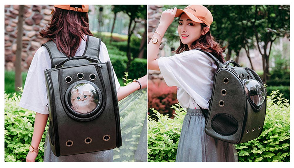 Pet Carrier Backpack 2-Sided Entry PU Leather Space Capsule Waterproof Breathable for Cat Small Dog 4