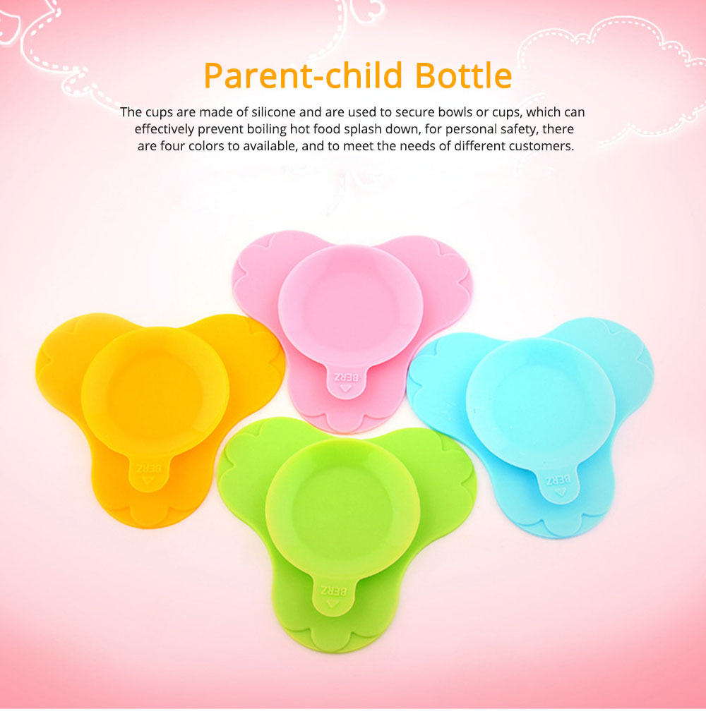 Silicone Drop-resistance Sucker with Transparent Cover for Baby Secure Bowl Bottle Sucker 0