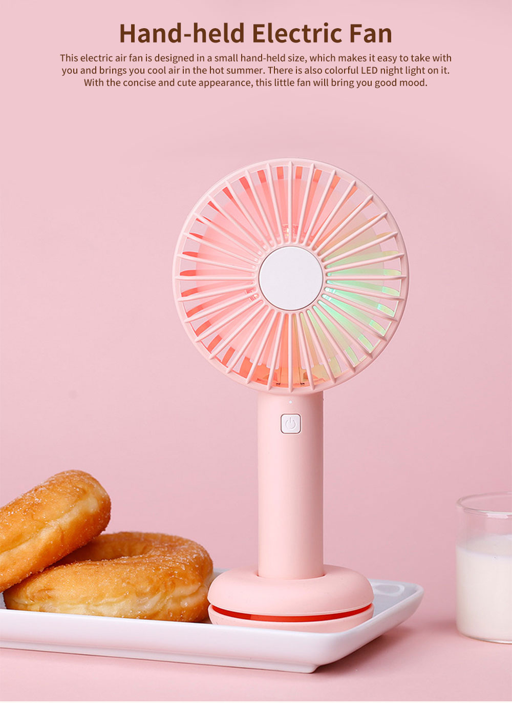 Hand-held Mini-sized Donut Electric Fan with LED Colorful Night Light, Concise ABS and Silica Gel USB Charging Air Fan 0
