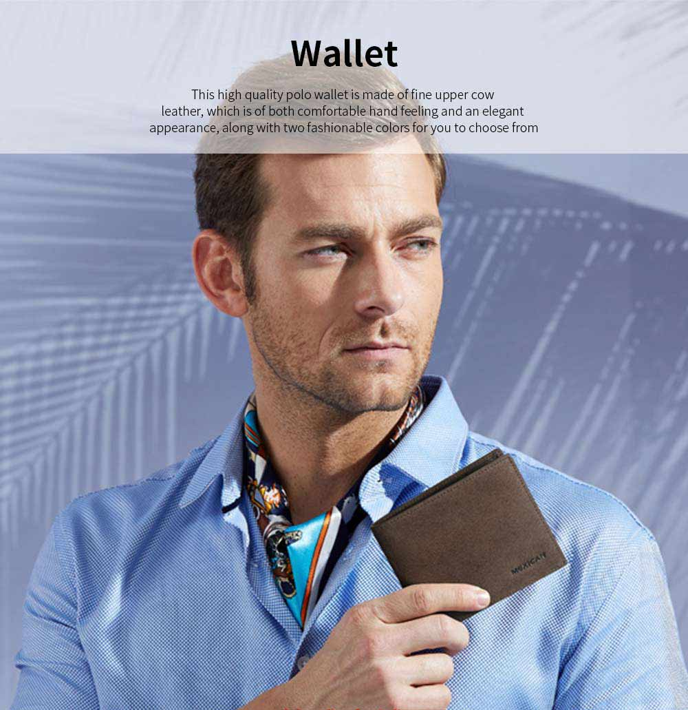 Mexican Polo Upper Cow Leather Wallet for Men, Fashionable Ultra Thin Vintage Textured Wallet High Quality 0