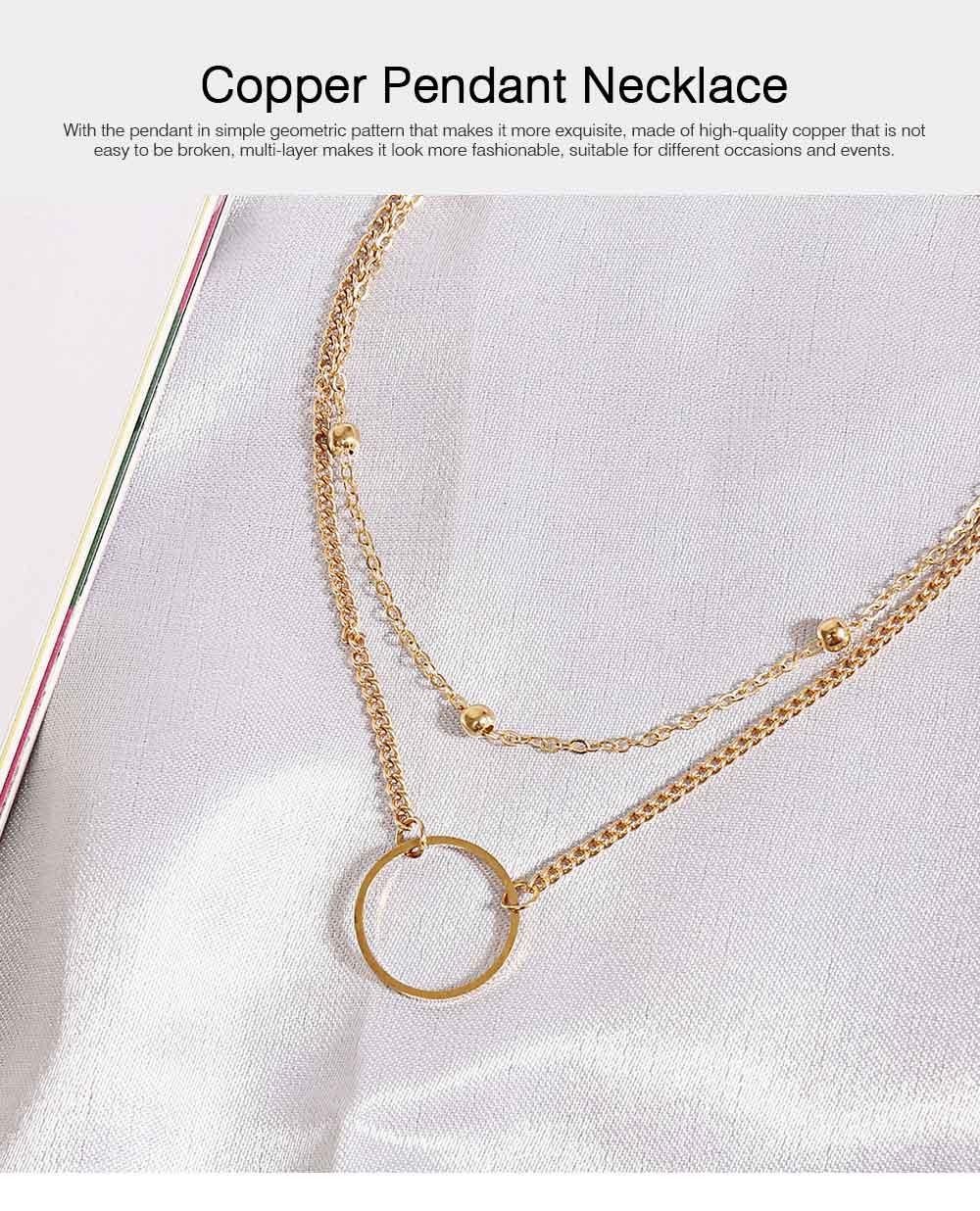 Geometric Copper Pendant Necklace, Multi-layer Simple Elegant Necklace Golden Alloy Neck Accessory 0