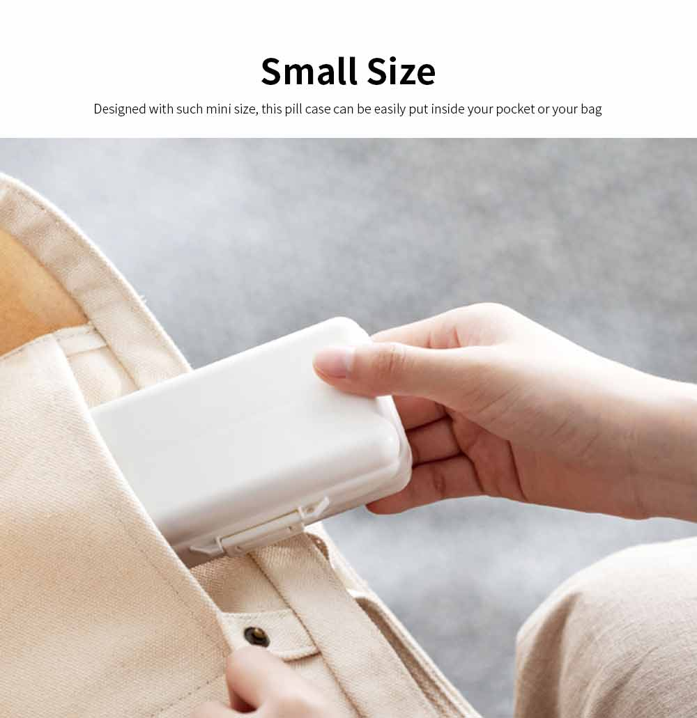 Mini-sized Medicine Container for Outdoor Travelling, Concise Potable White Little Carry-on Pill Case One Week Dose Dispenser 1