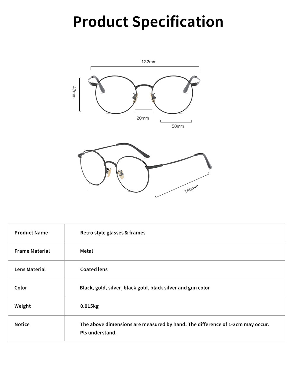 Unisex Retro Style Radiation Protection Glass Frames, Anti-blue Ray Glasses, Plano Lens Glass Frames Computer Round Frame Glasses Shortsighted Goggles 6