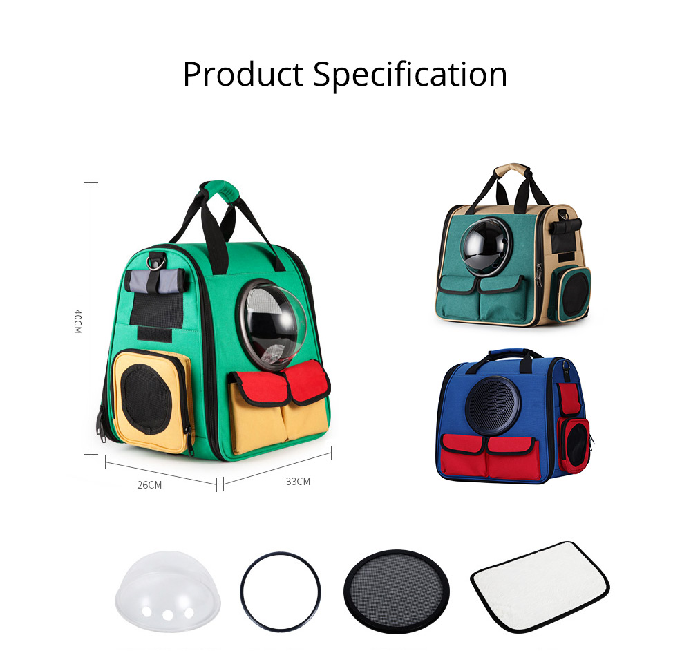 Pet Portable Handbag Canvas Space Cat Backpack Stylish Handy with Zipper Opening for Outdoor Use 8