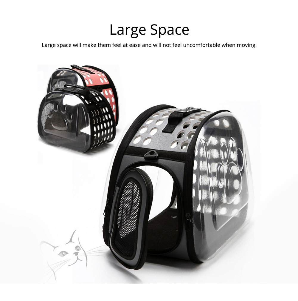 Transparent Pet Carrier Travel Bag, Foldable Portable Bag with Breathable Holes and Zipper Opening 3