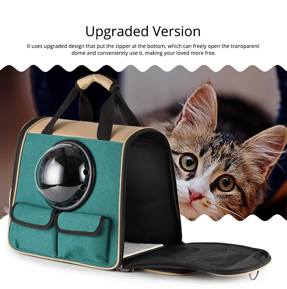 Pet Portable Handbag Canvas Space Cat Backpack Stylish Handy with Zipper Opening for Outdoor Use 4
