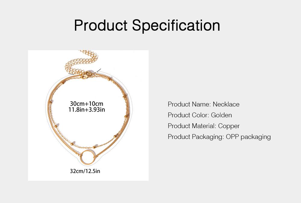 Geometric Copper Pendant Necklace, Multi-layer Simple Elegant Necklace Golden Alloy Neck Accessory 6