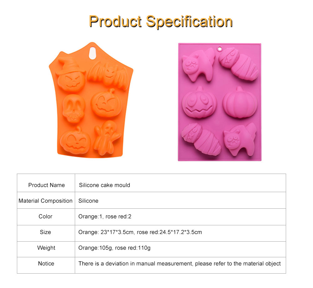 Silicone Cake Mould with Portable Hole, Halloween Style Baking Cake Mold, High Temperature DIY Baking Utensils 7