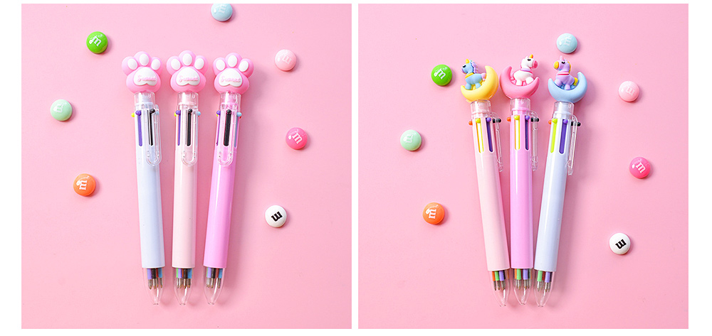 6 Colors in 1 Ball Pens Multi-colors Cute Ballpoint Pen for Students School Office  Stationery Gift 2