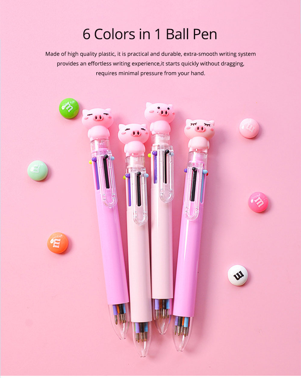 6 Colors in 1 Ball Pens Multi-colors Cute Ballpoint Pen for Students School Office  Stationery Gift 0